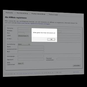 Screenshot Affiliate-Registrierung mit fehlender Pflichtangabe