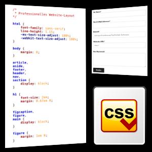 Screenshot CSS-Datei, Kontaktformular und CSS-Symbol