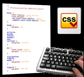 Screenshot CSS-Datei, CSS-Logo und Foto einer Tastatur