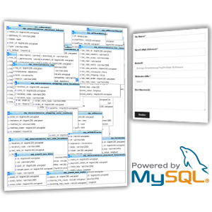 Screenshot phpMyAdmin und MySQL-Logo