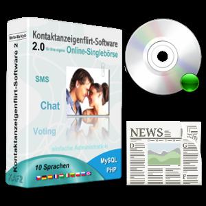 Flirt-Software-Box mit CD und Zeitungs-Clipart