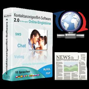 Flirt-Software-Box mit Update-Icon und Zeitungs-Symbol