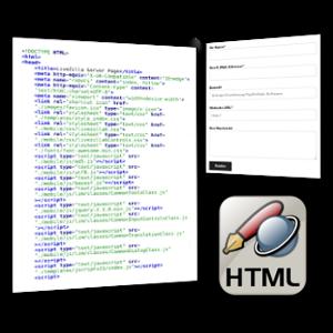 Screenshot HTML-Quellcode, Kontaktformular und HTML-Icon