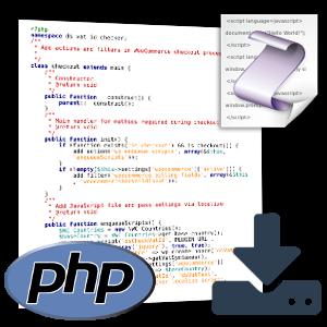 PHP- und JavaScript-Logo, Screenshot PHP-Quellcode und Download-Symbol