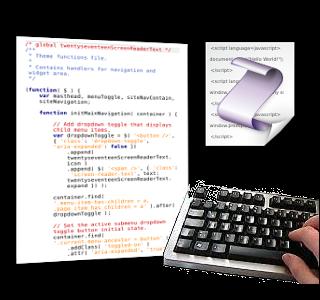 Screenshot JavaScript-Datei, Foto einer Tastatur, JavaScript-Logo