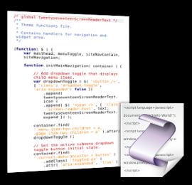 Screenshot JavaScript-Datei und JavaScript-Logo