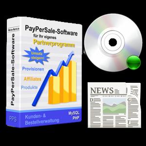 Partnerprogramm-Box mit CD-Symbol und Zeitungs-Clipart
