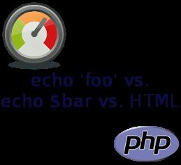 echo 'foo' vs. echo $bar vs. HTML