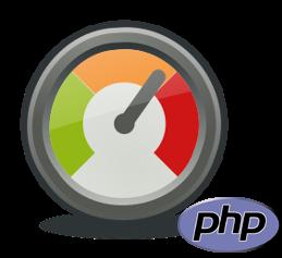 Tachometer und PHP-Logo