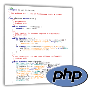 Screenshot des Quellcodes einer PHP-Datei, PHP-Logo