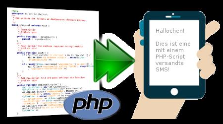 PHP-Datei mit Pfeil zu einem mobilen Endgerät