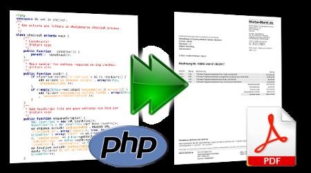 PHP-Datei mit Pfeil zu PDF-Dokument