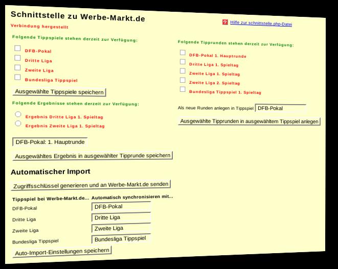 Screenshot des Admin-Menüpunkts Schnittstelle