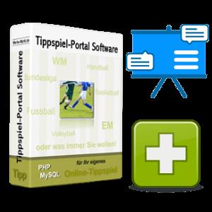 Tippspiel-Script-Box, Flipchart und Plus-Symbol