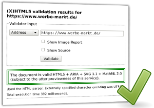 Screenshot HTML5 validation results von validator.nu