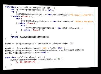 Screenshot JavaScript-Code XMLHttpRequest-Objekt