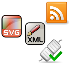 Schnittstellen-Symbol und Logos von SVG, RSS und XML