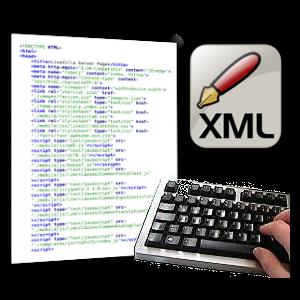 Screenshot XML-Datei, Tatstatur und XML-Logo