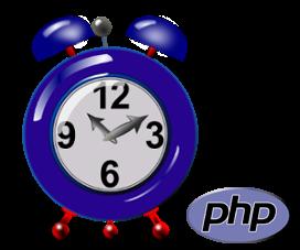 Wecker und PHP-Logo