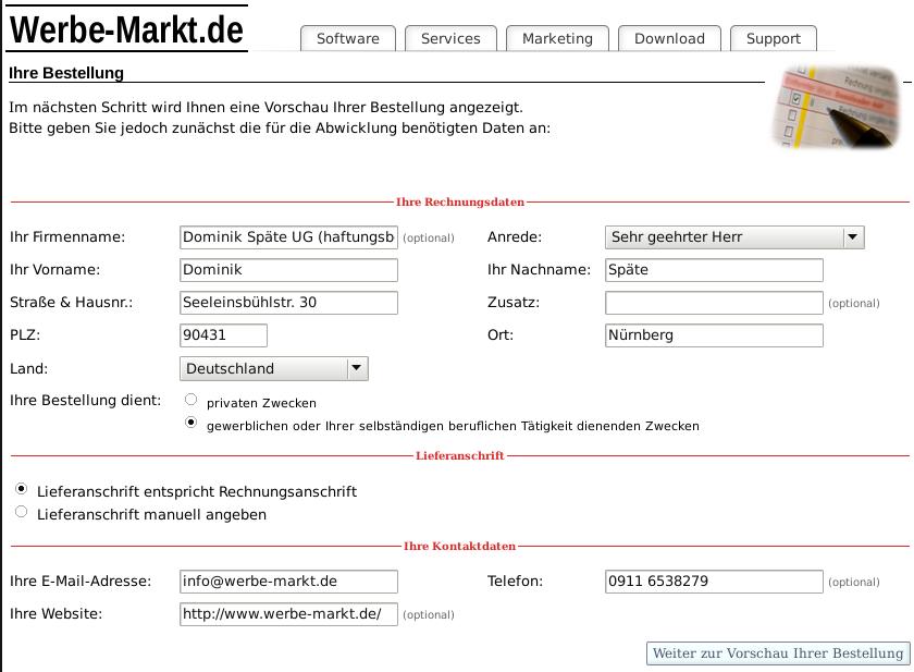 Screenshot Rechnungs-, Liefer- und Kontaktdatenangabe