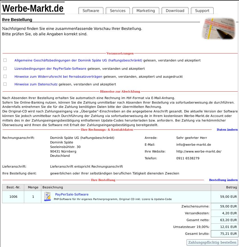 Screenshot finale Zusammenfassung im Checkout-Prozess