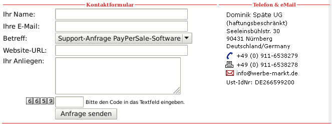 Screenshot Kontaktformular