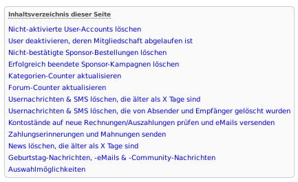 Screenshot des automatisch generierten Inhaltsverzeichnisses im alten Werbe-Markt.de
