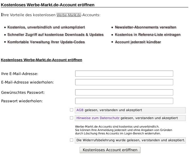 Screenshot Registrierungsformular