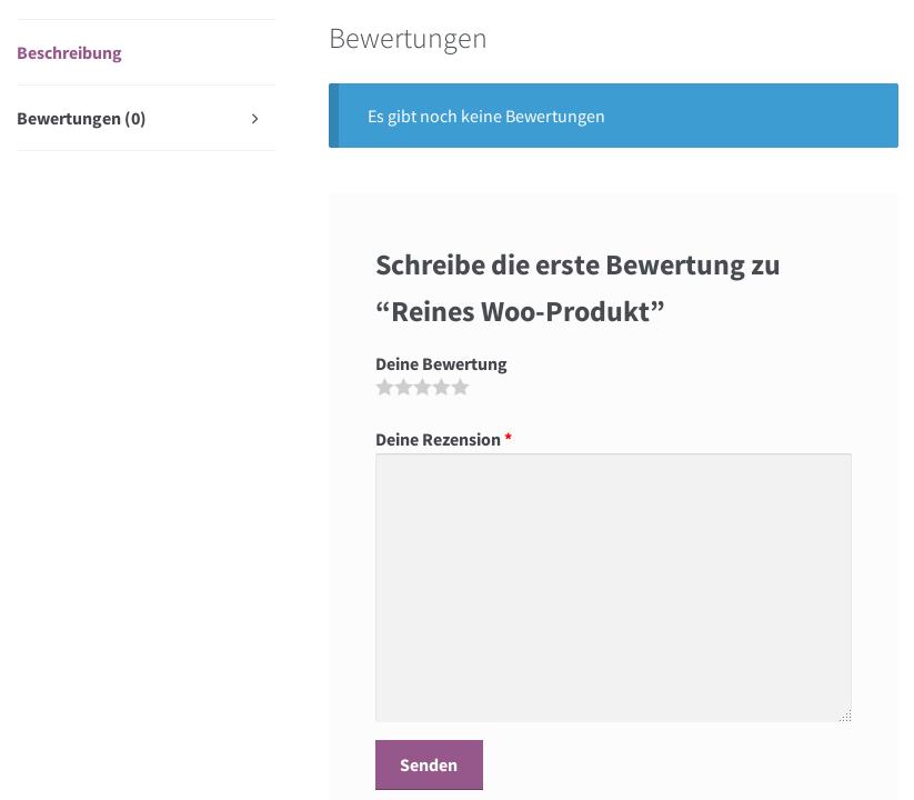 Screenshot Produktseite im Storefront Theme