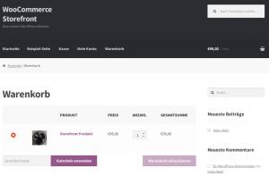 Screenshot der Warenkorb-Seite im Storefront-Theme
