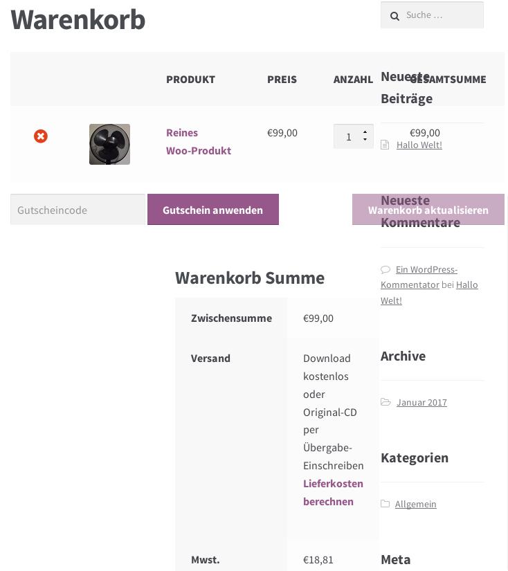 Screenshot Storefront Kassen-Seite mit 768px Breite