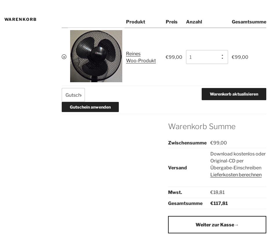 Screenshot Warenkorb mit WordPress Standard-Theme Twenty Seventeen