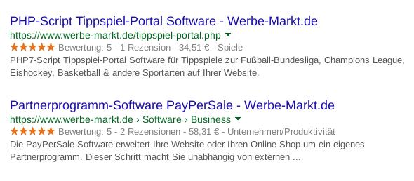 Screenshot Google SERP mit Darstellung der Software-Kategorie