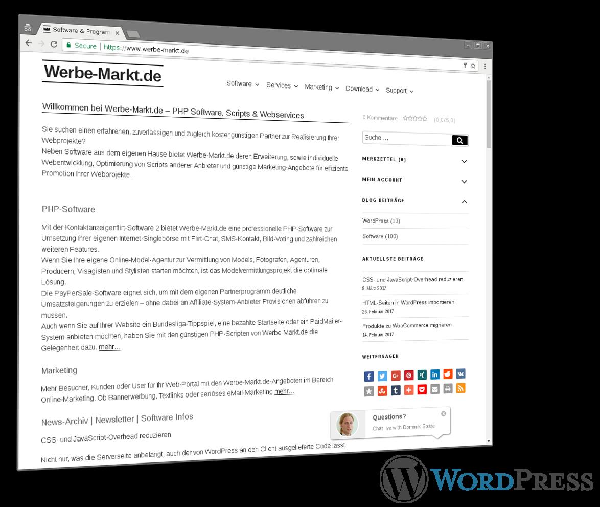 Screenshot von Werbe-Markt.de und WordPress-Logo