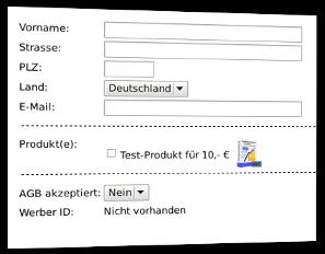 Screenshot Bestellformular mit Produktbild