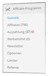 Screenshot Menübox zum Affiliate-Programm im Gambio-Admin