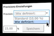 Screenshot Provisions-Einstellung Standard oder individuelles Prozentsatz für den Affiliate