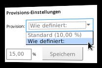 Screenshot Einstellungen zur Provisionshöhe in der Partnerprogramm-Administration