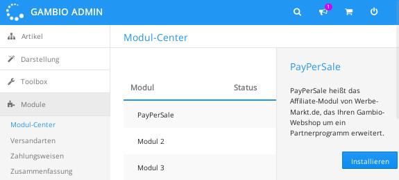 Screenshot Modul-Center