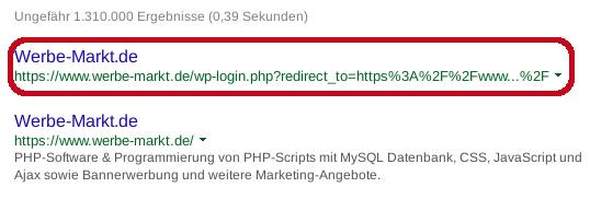 Screenshot Google SERP Login-Seite ohne Vorschau-Snippet