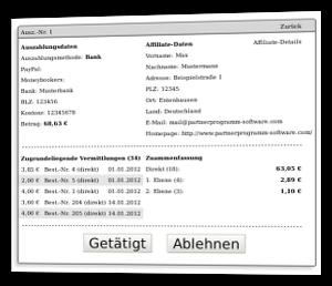 Screenshot offene Auszahlung an Partner