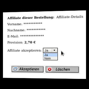 Screenshot Bestellung akzeptieren oder löschen