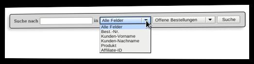 Screenshot Suche nach Bestellungen