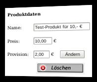 Screenshot Produktdaten-Formular