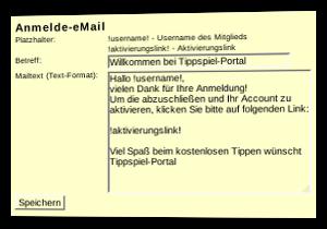 Screenshot Anmelde-E-Mail bearbeiten im Admin-Menü des Tippspiel-Scripts