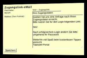 Screenshot Formular zur Anpassung der Zugangsdaten-E-Mail im Admin-Menü des Tippspiel-Scripts