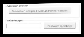 Screenshot neues Passwort automatisch generieren oder manuell festlegen im Admin-Menü