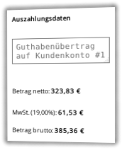 Screenshot Auszahlugsdaten: Guthabenübertrag auf Kundenkonto #1 Betrag brutto: 385,36 €