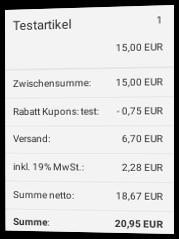 Screenshot Gambio-Checkout mit eingelöstem Tracking-Gutschein