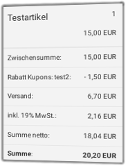 Screenshot Gambio-Checkout mit 10% Rabatt-Gutschein